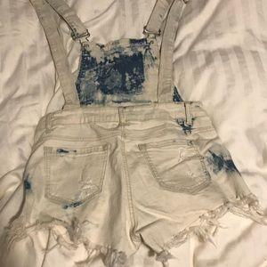 tie dye wash short overalls
